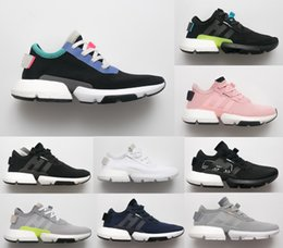 Wholesale cutting system - 2018 P.O.D Boost Popcorn Light Running Shoes POD-S3.1 System Men Women Triple Black Blue Fashion Walking Sport Sneakers Designer Shoe