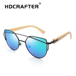 125db34e80595 HDCRAFTER bamboo Cat Eye Sunglasses Women Fashion Ladies Sun Glasses Female  Vintage Shades Oculos de sol Feminino UV400