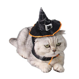 Wholesale Wholesale Pet Halloween Costumes - Cat Halloween Cosplay Fancy Dress Magic Black Wizard Witch's Hat +Scraf Set Halloween Pet Costumes ZA6593