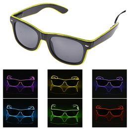 Светодиодные солнечные очки онлайн-Эль очки Эль провод мода неоновые светодиодные затвора Shaped Glow солнцезащитные очки рейв костюм партии DJ яркие солнцезащитные очки