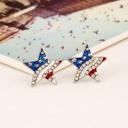 Caliente joyería americana y americana bandera americana Stud Pendientes Pentagrama Rhinestones en forma de corazón gota pendiente de aceite Stud Pendientes D0473 desde fabricantes
