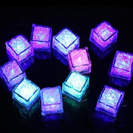 Wholesale Water Submersible Wedding Lights - RGB LED flashing ice cube lights Water Submersible Liquid Sensor LED Light for Club Wedding Party Champagne Tower Christmas festive