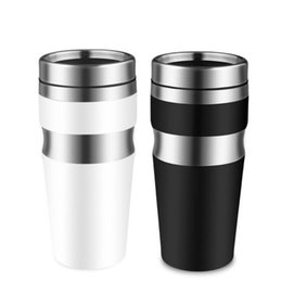 Wholesale tumblers drink - 450ML Stainless Steel Water Bottle Double Wall Coffee Car Office Water Drinking Bottle Tumbler 2 Colors Hydration Gear OOA5245