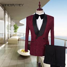 giacca a doppia petto Sconti Ultimo uomo Designer Suit Borgogna Mens Abiti modello Matrimonio doppio petto nero Scollo sciallato Laple Groom Blazer Jacket 2 pezzi