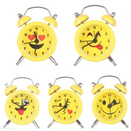 Wholesale Cartoons Alarm Clock - Cute Emoji Expression Mini Cartoon Yellow Round Battery Alarm Clock Desktop Table Bedside Clock Decor 5 Styles OOA4322