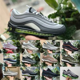 Wholesale red checkered shoe laces - 2018 New vapormax 97 OG X Undftd Metallic Gold Silver Bullet Shoes 97s Men women ultra sean wotherspoon Undftds undefeated AIrS Sneakers