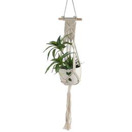 Seil heimtextilien online-Makramee Pflanze Kleiderbügel Indoor Outdoor Wandbehänge schöne Home Decor Pflanzer Halter Korb Baumwolle Seil mit Perlen