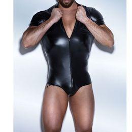 Wholesale sexy bodysuit costumes - Sexy Faux Leather Men's Lingerie Underwear Bodysuit Wrestling Singlet Siamese Boxers Exotic Gay Bright Short Jumpsuits Leotard Costume