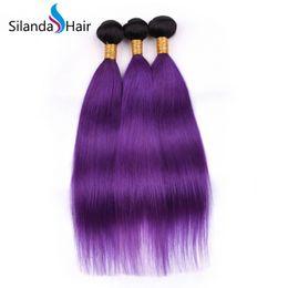 Trama del pelo humano del color púrpura online-Silanda Hair Nice Hot Sale Ombre Color #T 1B / Purple Brazilian Remy Human Hair Weave Trama de cabello lacio para la venta 3 piezas por paquete Envío gratis