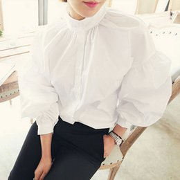 a7609adc S-XL Size Retro Pleated Stand Collar Puff Loose Long White Blouse 2017  Vintage Cotton Tops Fashion Womens Lantern Sleeve Shirt