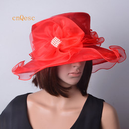 Wholesale Ladies Red Dress Hats - Red Ladies organza hat formal dress hat for wedding church derby party Kentucky derby.