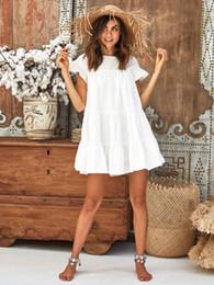 Womens Summer Summer manches courtes Mini Dress Ladies Loose Casual Beach Sundress volants élégante robe courte robes ? partir de fabricateur