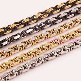 Wholesale Multiple Chain Bracelet - whole sale8-40inch Customed Size 5 6 8mm Men Bracelet Necklace 316L Stainless Steel Multiple Color Choose Byzantine Box Chain Top Hot Sell