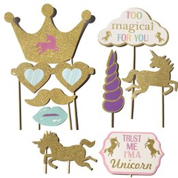 Wholesale baby photo props christmas - Cartoon Unicorn DIY Photo Booth Props Cute Photographic Prop Baby Birthday Christmas Wedding Party Decorations Hot Sale 10md C