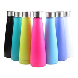 Wholesale Thermal Portable Cup - Creative sport 304 stainless steel vacuum cup The second generation water bottle 450ml solid color portable summer cups