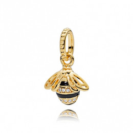Wholesale fit bee - Spring 18ct Gold Plated & Sterling Silver Beads Queen Bee Pendant Charms Fits European Pandora Style Jewelry Bracelets & Necklace 367075EN16