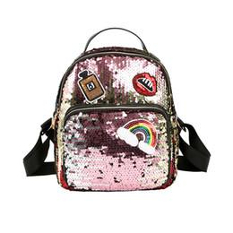 Wholesale Open Lips - Girls Sequins Lip Rainbow Backpack Women Shoulder Bag Schoolbags Handbag Satchel Bag Cute Bling Mini Backpacks