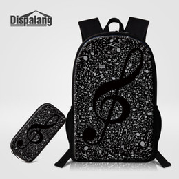 Wholesale Books Pencils - Dispalang 2pcs set Musical Note Print Backpacks Large School Bags with Pencil Bag For Teenagers Girls Cute Book bag Pencil Case