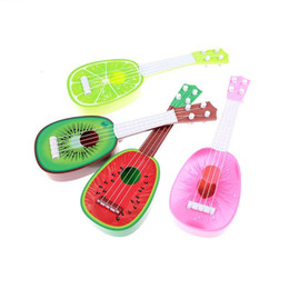 Wholesale Toys Guitars - 1PC Mini Fruit Learn Guitar Can Play Musical Instruments Toys Kids Educational Newest 4 Styles Children Kids Creative Cute Gifts