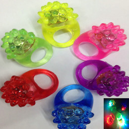 Wholesale Led Flashing Jelly Rings - 6Color Mix Led Flashing Jelly Ring Party Bar Blinking Soft Glow Light UP Party Favor Christams Gifts WX9-220