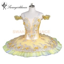 Wholesale women flower tutu - Gold Yellow Flower Fairy Classical Ballet tutu Professional Woman Girls Stage Costumes Canary Fairy Tutu Dance Performance BT9147