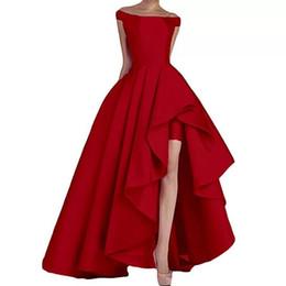 2018 New Arrival Off Shoulder Vestidos De Fiesta High Low Long Satin Evening Prom Dresses Asymmetrical Formal Party Gowns
