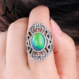 Wholesale Vintage Christmas Felt - Mojo Vintage Bohemia Retro Color Change Mood Ring Emotion Feeling Changeable Ring Temperature Control Ring for Women MJ-RS013