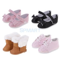 Wholesale Stylish Dresses For Girls - Stylish Outfit Shoes Sticky Strap Leather Shoes Snow Zip Boots for 18'' American Girl Our Generation My Life Dolls Dress up ACCS