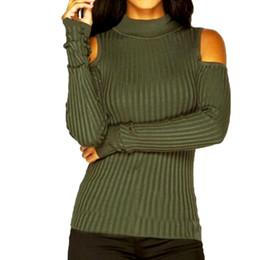 2019 verde maglione spalla Sexy off spalla maglione lavorato a maglia donne 2018 moda army green magro dolcevita maglioni top donna autunno inverno pullover c18110601 verde maglione spalla economici