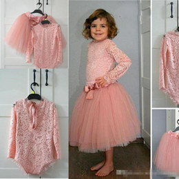 Wholesale Tea Length Baby Pageant Dresses - Cute Two Pieces Baby Party bodysuit Dresses Lace Top And Tulle Skirt blush Flower Girl Dress For Wedding Long Sleeves Girls Pageant Gowns