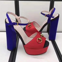 Wholesale Green Peep Toe Shoes - New 2018 Satin Cloth Women Peep Toe Sexy Sandals Chunky High Heel Designer Summer Shoes Match Color Women Horsebit Chain Shoes S810