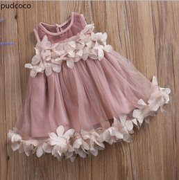 Wholesale wholesale pageant - Cute Kids Girls Princess Pink White Dresses Pageant Toddler Kids Baby Girl Sleeveless Flower Tulle Petal Party Ball Gown Dresses