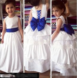 Wholesale kids simple gowns - 2018 Simple Flower Girl Dresses for Wedding with Bow A Line Lace up corset Toddler Pageant Dresses For Teens Kids Formal Gown