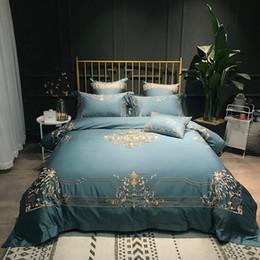 80 S Cotone Egiziano Rosso / blu di lusso Ricamo D'oro Biancheria Da Letto Set Copripiumino Biancheria Da Letto Lenzuolo Federa Queen King size da