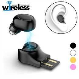 Wholesale invisible earpieces - X11 Mini Bluetooth Wireless Earphone Invisible Earbud In Ear Handsfree Headsets Magnetic USB Charger Earpiece for Smartphones