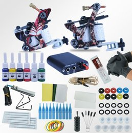 Wholesale tattoo kit gun ink needle - Tattoo Machines Power Box Set 2 guns Immortal Color Inks Supply Needles Accessories Kits Completed Tattoo Permanent Makeup Kit