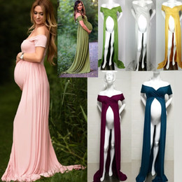 Wholesale casual pregnancy dresses - Free Size Pregnant Dress elegant Maternity Gown Split Front Photography Dress for Photo Shoot Women Casual Pregnancy Long Dress