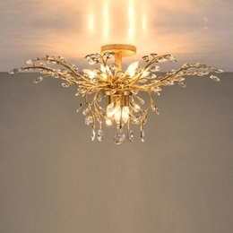 Wholesale Fluorescent Ceiling - led chandelier light fixtures iron crystal ceiling lights 9 heads up down light black bronze chandeliers home decor American village style