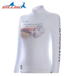 Wholesale women s diving suits - Women summer Lycra UPF 50+ Rash Guards lady Long sleeve high elastic Slim Snorkeling Dive Surfing Anti-UV swimsuit tops Body Suits Swim Wear
