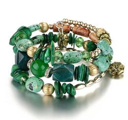 Wholesale Jade Bracelet Carving - Multilayer Irregular Agate Beads Charm Bracelets for Women Vintage Jade Stone Man Bracelets & Bangles Ethnic Jewelry