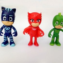 Wholesale Superman Action Figure Toys - 6 Pcs Lot PJ Doll Action Figure Toys Masked Superman Cartoon Characters Masks Toy Gift For Children 1 85wg W