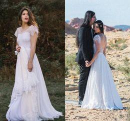 2ffddee0955 Bohemian Wedding Dresses 2018 Lace Chiffon Cap Sleeve Backless Full length Outdoor  Garden Farm Free People Bridal Dress Cheap