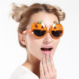 Wholesale Dress Up Glasses - Halloween Spectacles Dress Up Eyeglass Photograph Prop Orange Pumpkin Modelling Glasses Funny Birthday Party Supplies Free Shipping 6 8sf V