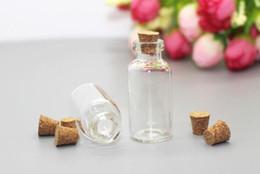 200 unids / lote 5 ml Mini frascos de vidrio Frascos de envasado Tubo de ensayo Con tapón de corcho de vidrio vacío transparente transparente Bottes desde fabricantes