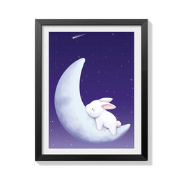 Wholesale Moon Cartoon Pictures - Lan New Pattern Diy Diamonds Picture Moon Rabbit Modern Bedroom Decoration Painting Full Of Drills Cartoon Cross Embroidery