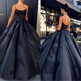 Wholesale Sweetheart Ball Gowns - 2018 New Fashion Black Ball Gown Quinceanera Dresses Spaghetti Straps Appliques Satin Backless Saudi Arabic Prom Dresses Sweet 16 BA7789