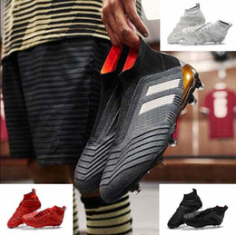 Wholesale Mens Gray Boots - Hot Sale High Ankle Football Boots ACE Predator 18+ FG Copa Tango TF ic Soccer Shoes Mens Outdoor Indoor Soccer Cleats Mens Accelerator