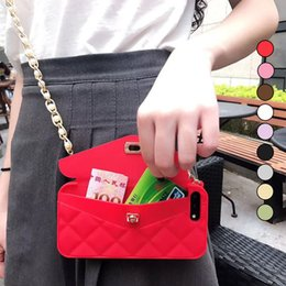 Wholesale Soft Silicone Handbag For Iphone - New Luxury Fashion Soft Silicone Card Bag Metal Clasp Women Handbag Purse Phone Case Cover With Chain For Iphone x 8 7 6 6S Plus