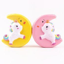 Wholesale Horses Flies - Kawaii Squishies Flying Jumbo Moon Unicorn Pony Horse Kid Toys Squishy Slow Rising Cream PU Foam Decompression toys Cell Phone Strap Charms