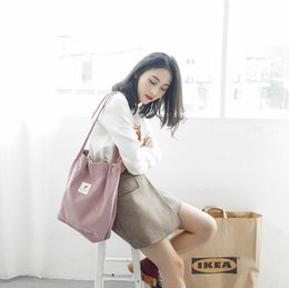 Wholesale large black art canvas - Original corduroy Snap button women canvas bags The large capacity and literature and art College of the wind Single shoulder bag